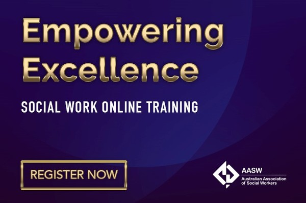 Empowering Excellence: Social Work Online Training - Register now on a purple background