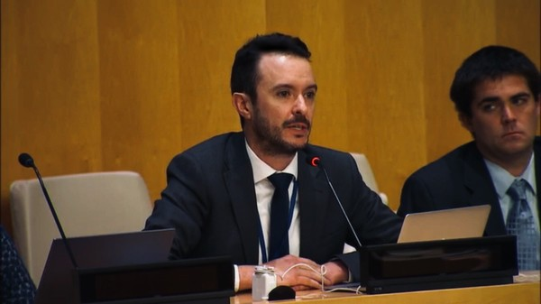Dr Sebastian Cordoba speaking at the United Nations Political Forum 2018