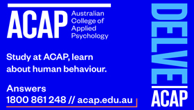 Blue background ACAP Australian College of Applied Psychology - Delve ACAP Study at ACAP learn about human behaviour