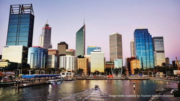 Skyline of Perth and the river