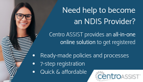 Need help to become an NDIS Provider? Centro ASSIST provides an all-in-one online solution to get registered. Woman with long dark hair fair skin, glasses, smiling