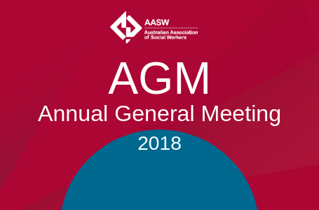 AGM Annual General Meeting 2018 - red tile with teal accent