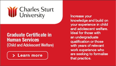 Charles Sturt University - Graduate Certificate in Human Services (Child and Adolescent Welfare) Learn more - red tile