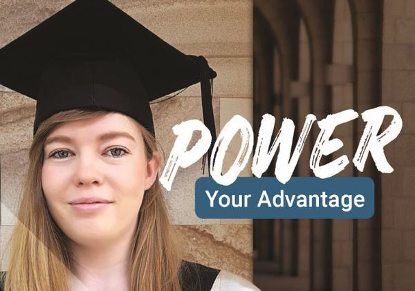 Power Your Advantage: girl with black graduation hat