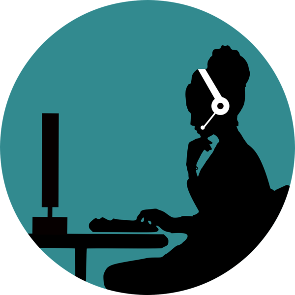 Silhouette of woman on the phone at her computer.