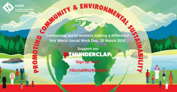 World Social Work Day photo with sky, mountains and lakes and people