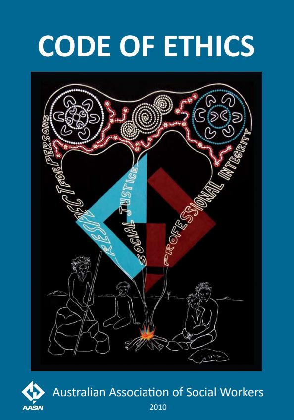 Cover of the Code of Ethics 2010 dark blue cover, indigenous art