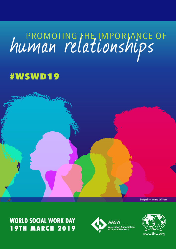 Promoting the Importance of Human Relationships #WSWD19 - blue with coloured heads